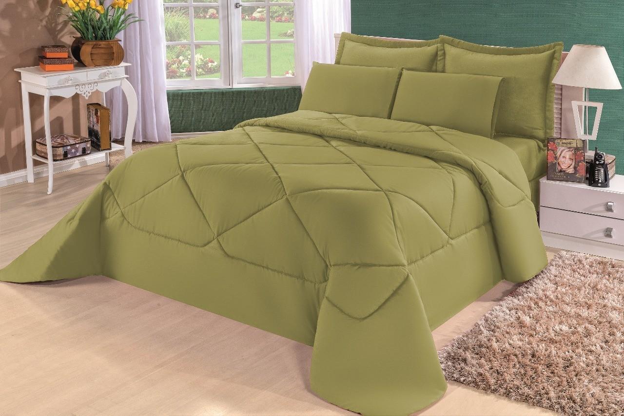 Cobre Leito Casal Queen Kit Conforto Liso Marrom + 1 Lençol de Elástico  - 6 PÇS - Verde Militar