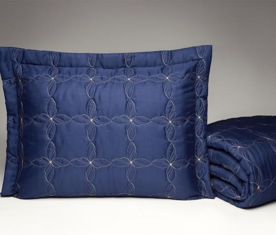 Cobre Leito Casal Queen Porcelana Tecido Capri 03 Peças - Azul