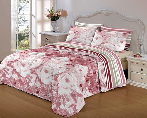 Cobre leito Jade Dupla Face com viés Casal Padrão - Rosa Floral