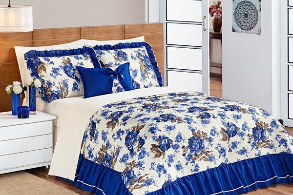 Cobre Leito Sofia Queen 05 Peças- Floral Azul
