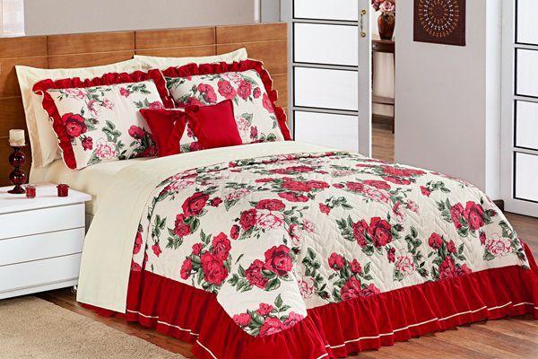 Cobre Leito Sofia Queen 05 Peças- Floral Vermelho