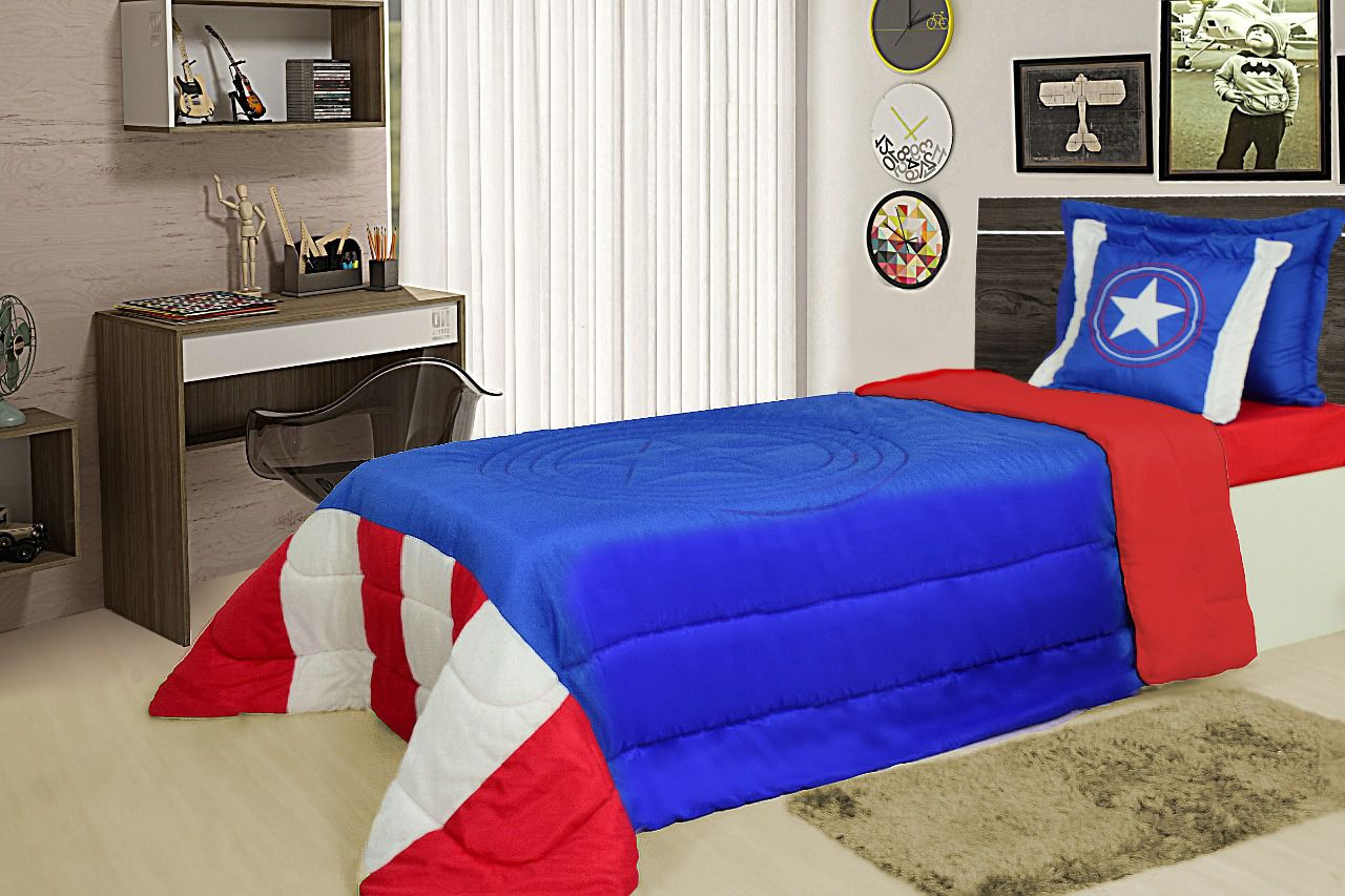 Cobre Leito Solteiro 05 peças Personagem - Capitão América (Azul)