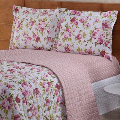 Cobre leito Valentina Casal Estampado 03 Peças- Floral Rosa