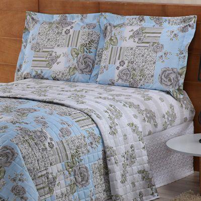 Cobre leito Valentina Casal Padrão Estampado 03 Peças- Floral Azul