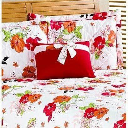 Colcha Casal Queen Primavera 4 peças  - Vermelho