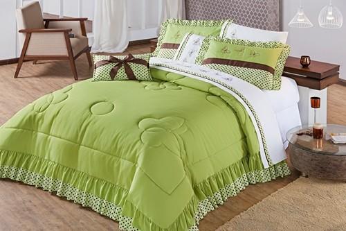 Colcha Casal Queen Naturalle 5 pecas  Percal 150 Fios algodão - Verde