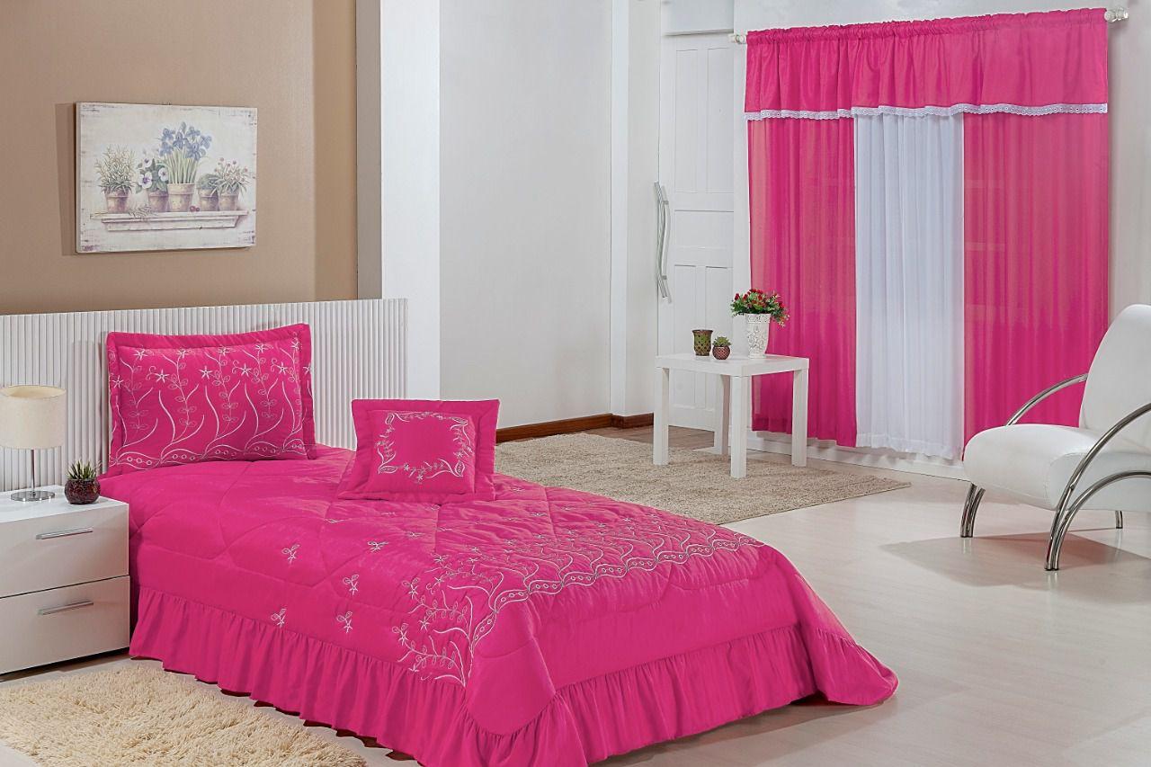 Colcha Solteiro Desejos kit 04 Peças acompanha Cortina- Pink