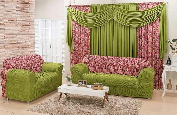 Combinado Capa de Sofá com elástico + Cortina 2 x 1.70m - Verde