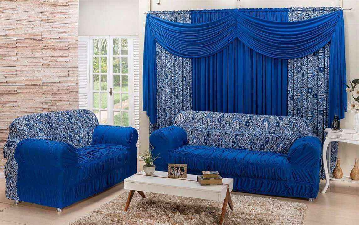 Combinado Capa de Sofá com elástico + Cortina 3,00 x 2.50m - azul