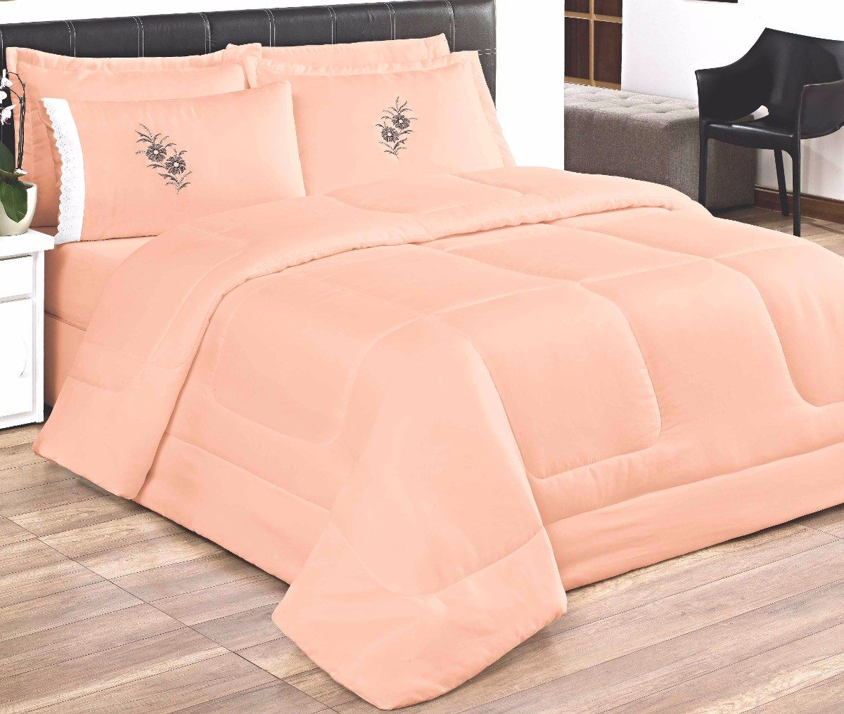 Cobre Leito Casal Queen Kit Conforto + 1 Lençol de Elástico  - 6 PÇS -Rosa Salmão