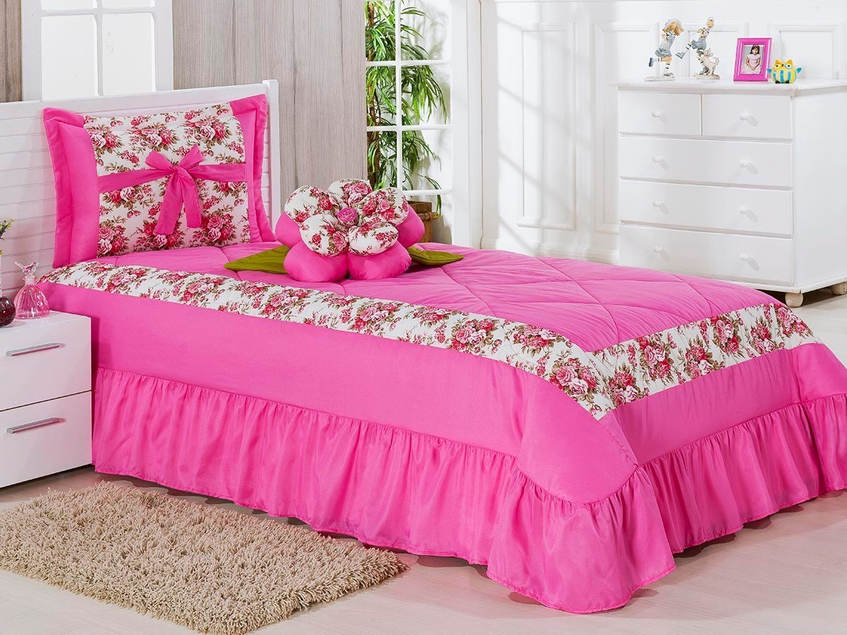 Cobre Leito Solteiro AMAZON 03 peças- Pink