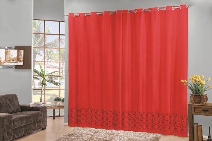 Cortina Elegance 3 x 2.80m- Vermelho