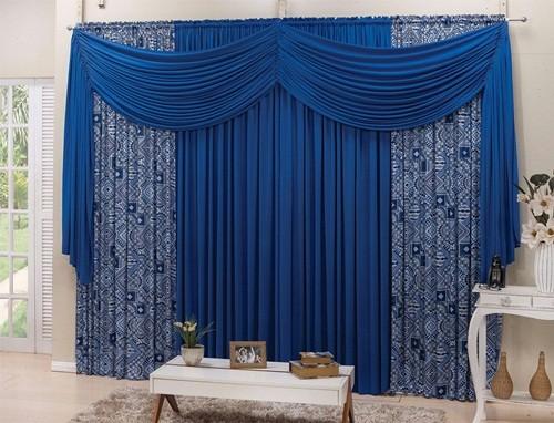 Cortina Esplendore Estampada 2,00 x 1,70m Azul