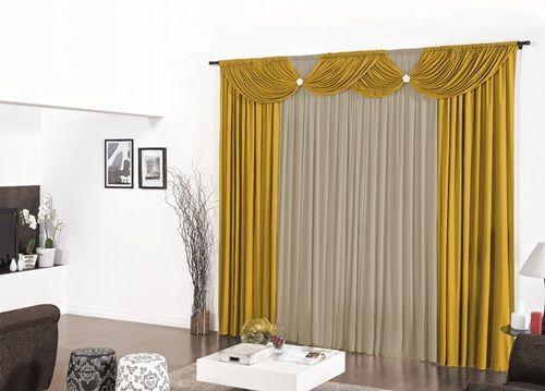 Cortina para Sala e Quarto Flórida 2,00 x 1,70m- Amarelo com Avelã