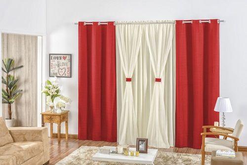 Cortina para sala e quarto Rustica 3,00 x 2,50m - Vermelho com Avelã