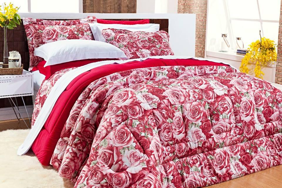 Edredom Queen Coleção Safari 100% Algodão Malha Penteada - Vermelho Floral