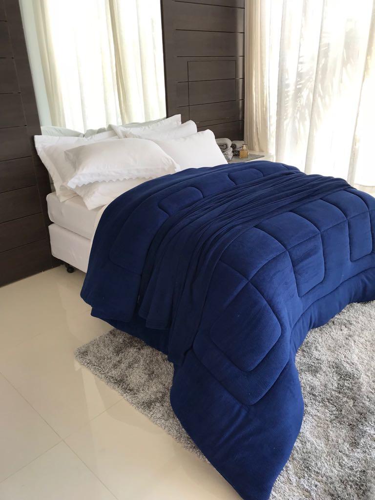EDREDOM SOFT CASAL QUEEN 1 PEÇA 100% algodão- Azul
