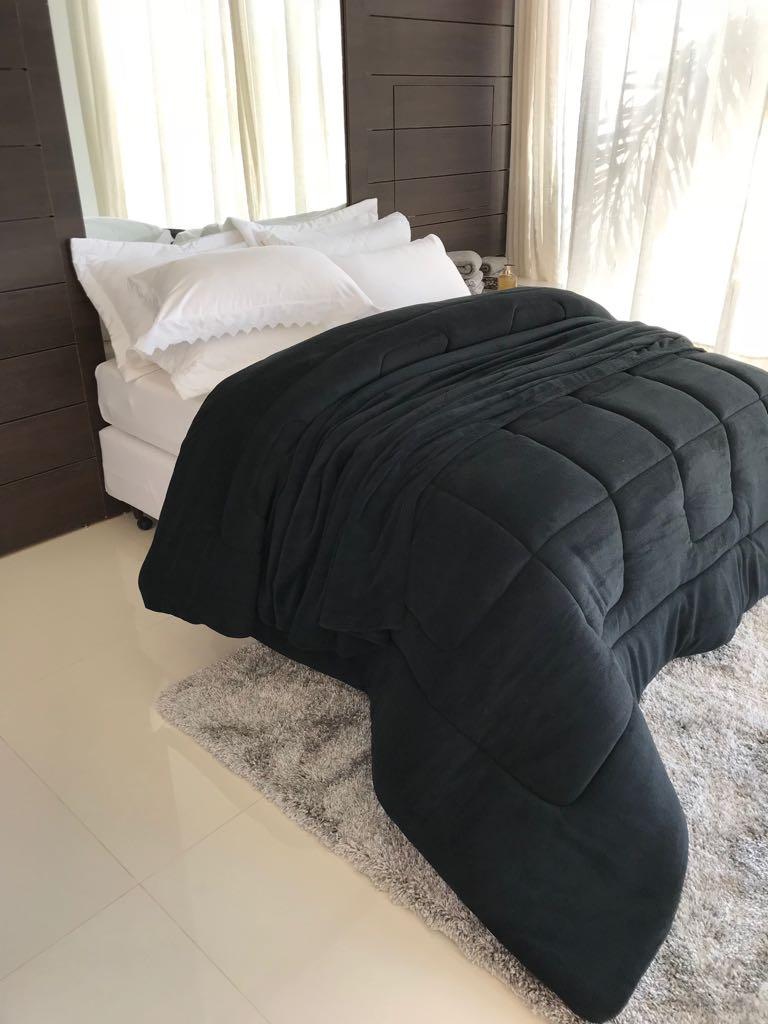 EDREDOM SOFT CASAL QUEEN 1 PEÇA 100% algodão- Preto