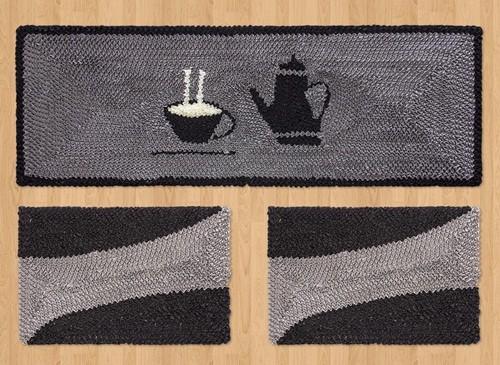 Jogo de Passadeira de Cozinha 03 Peças Preto Bule