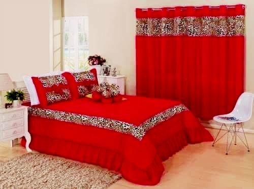 Kit cobre leito Casal King Amazon com uma cortina de 2 metros 5 peças- Vermelho