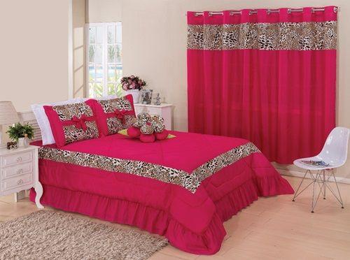 Kit cobre leito Casal Queen Amazon com uma cortina de 2 metros 5 peças- Pink