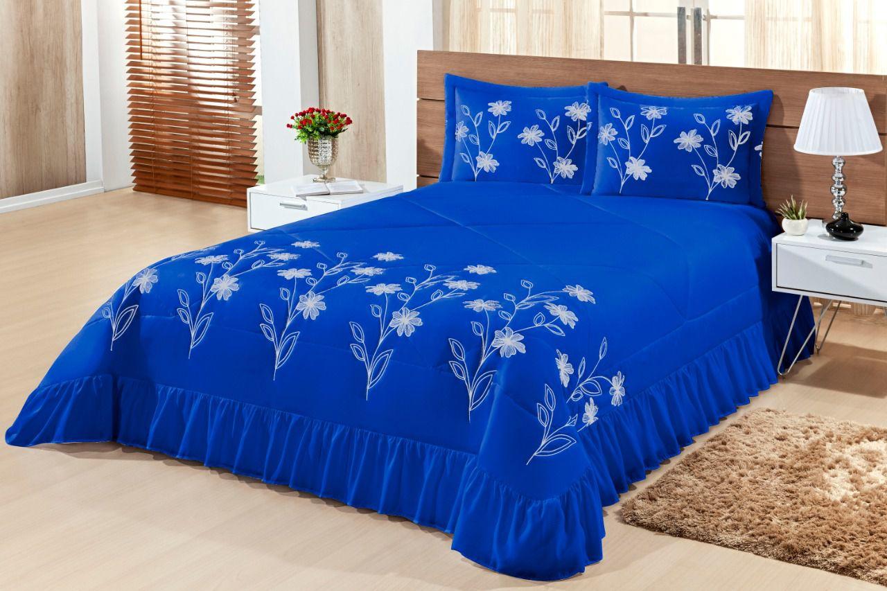 Cobre leito Queen Lírio 03 peças- Azul