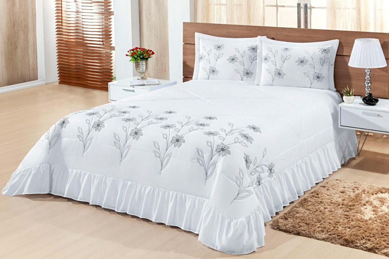 Cobre leito Queen Lírio 03 peças- Branco