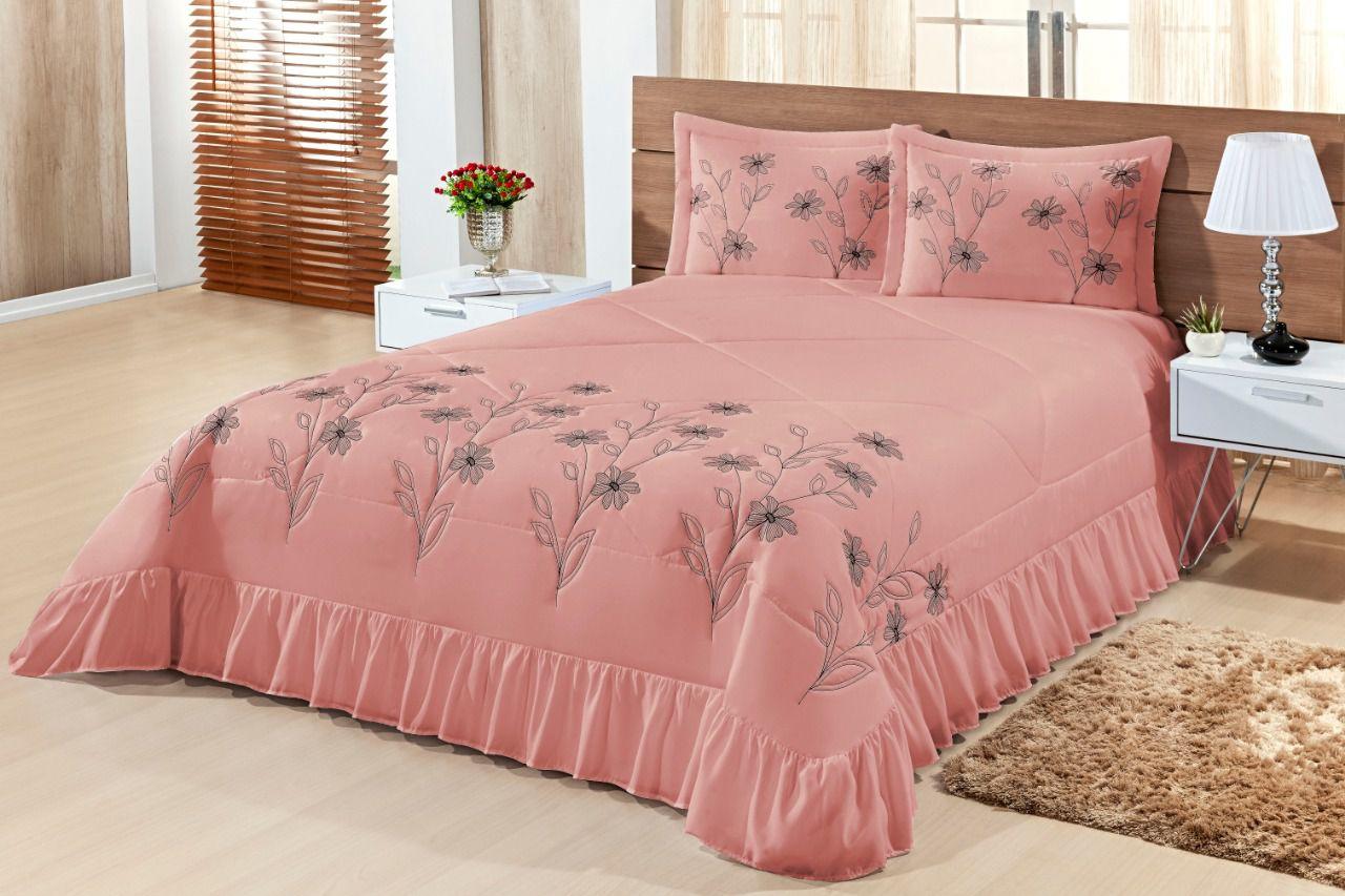 Cobre leito Queen Lírio 03 peças- Rosa