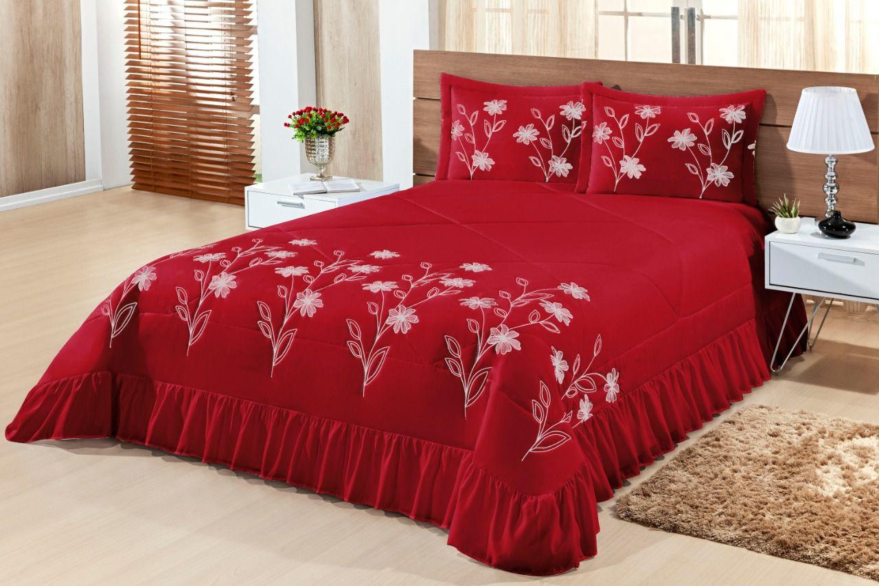 Cobre leito Queen Lírio 03 peças- Vermelho
