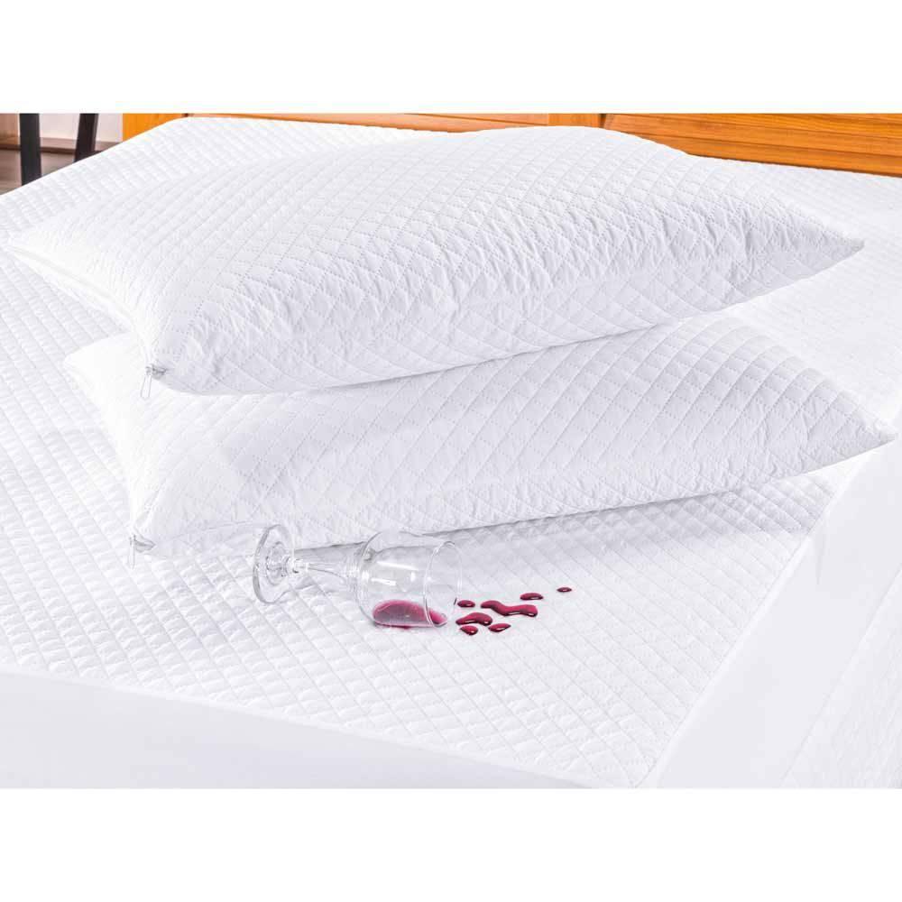 Kit De Protetores Impermeáveis Para Travesseiro Bia 02 Peças Matelado Ultrassônico - Branco
