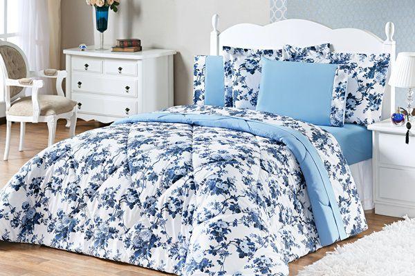 2848ecbbb8 Kit Murano Queen 03 Peças- Floral Azul - VIVART enxovais
