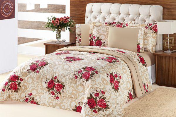Kit Murano Queen 03 Peças- Floral Vermelho