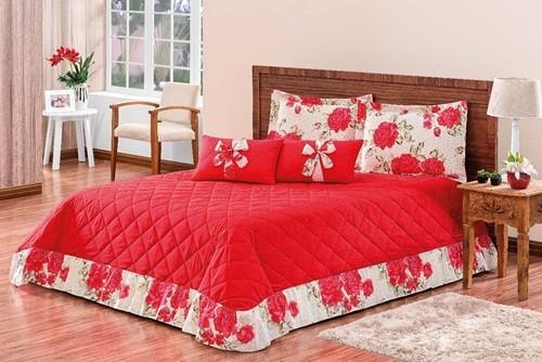 Kit savana Queen em Algodão 07 peças Vermelho Rosado