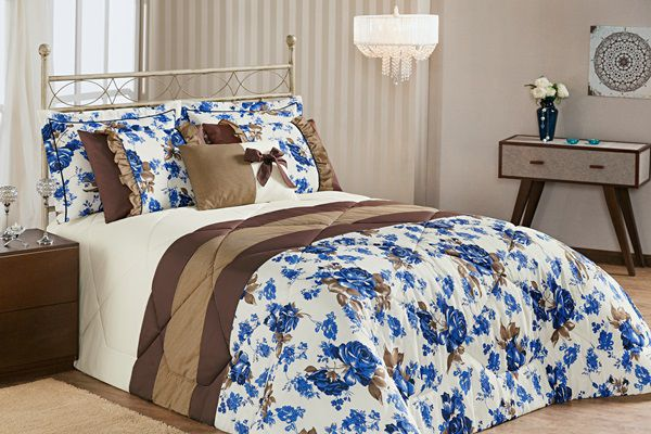 Kit Vitória King 7 Peças- Floral Azul