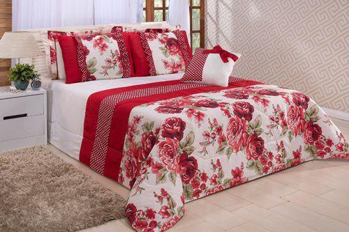 Kit Vitória King 7 Peças- Floral Vermelho