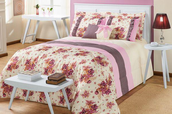 Kit Vitória Queen 7 Peças- Floral Rosa