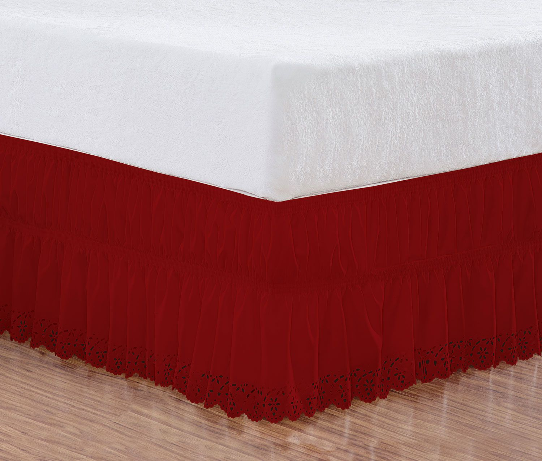 Saia Box Casal Queen Perolla Bordado Ultrassônico - Vermelho