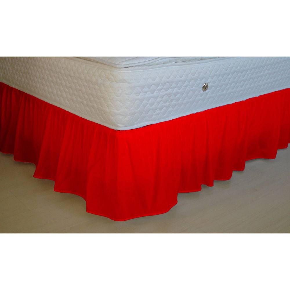 Saia Box para cama de Casal King - Vermelho