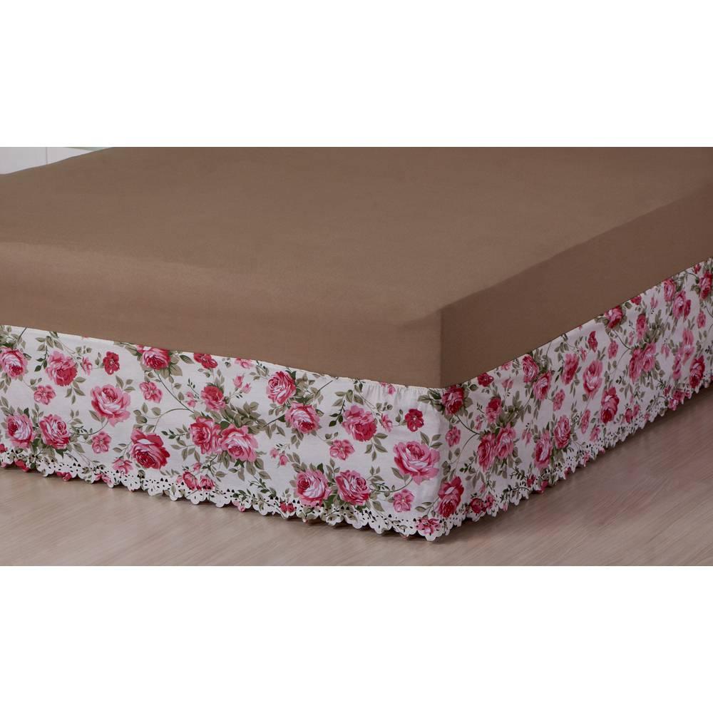 Saia P/ Cama Box Elasticada Casal Estampada Floral