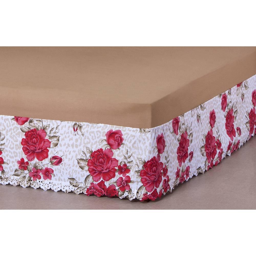 Saia P/ Cama Box Elasticada Queen Estampada Floral
