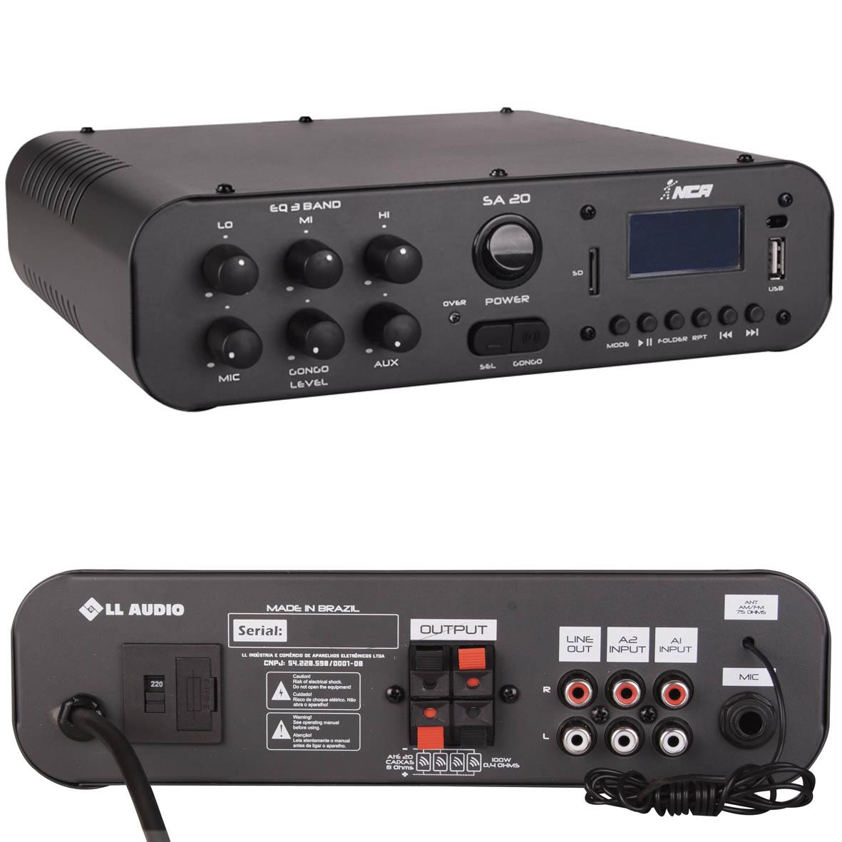 Amplificador Compacto Nca Sa20 100 Watts Usb FM e Microsd