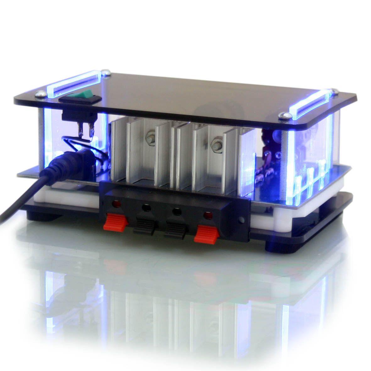 kit som ambiente mini amplificador estéreo e 2 arandelas quadradas de embutir