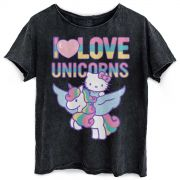 Blusa Feminina Hello Kitty I Love Unicorn