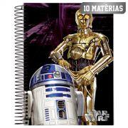 Caderno Star Wars R2D2 C3PO 10 Matérias