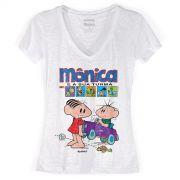 Camiseta Devorê Feminina Turma da Mônica Gibi