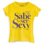 Camiseta Feminina Bruninho & Davi Ela Sabe Ser Sexy Yellow