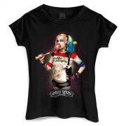 Camiseta Feminina Esquadrão Suicida Harley Quinn Bubble Gum