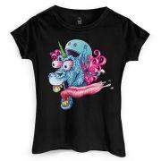 Camiseta Feminina Monstra Maçã Garagem de Unicórnio