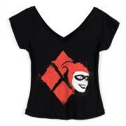 Camiseta Gola V Feminina Harley Quinn Splash