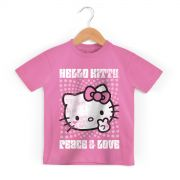 Camiseta Infantil Hello Kitty Peace & Love